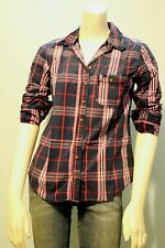 Abercrombie & Fitch Women Navy Pink Plaid Button Down Shirt Top NwT S M