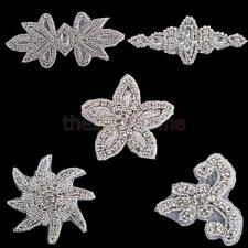 MagiDeal Sewing Iron On Rhinestone Beaded Motif Wedding Dress Applique Patch