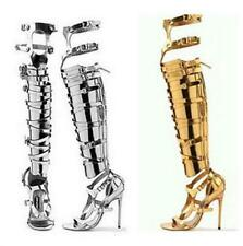 Women Gladiator Sandals Strappy High Heels Hollow Over Knee High Sandals Boots