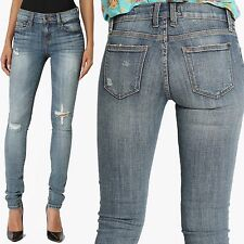 TheMogan Faded And Distressed Dark Blue Washed Low Rise Stretch Skinny Jeans