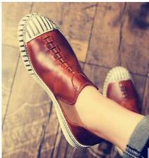 Mens Retro Pu Leather Loafers Slip On Casual Board Shoes moccasin Driving Shoes