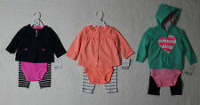 NEW CARTERS GIRLS 3 PIECE OUTFIT SET PANTS BODYSUIT HOODED JACKET OR CARDIGAN