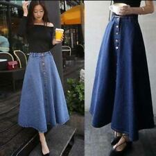 Stylish Chic Womens High Waist Mid Denim Flare Party Skater Jean Skirt Dress