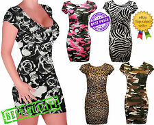 Womens Cap Sleeves Printed Bodycon Mini Dress Ladies Tunic Bodycon Dress Top