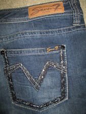 SEVEN 7 Skinny Crystals Stretch Dark Blue Denim Jeans Womens Size 14 x 29.5