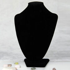 Black Velvet Necklace Pendant Chain Link Jewelry Bust Display Holder Stand LY
