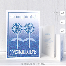 Gay wedding card, LGBT same sex wedding congratulations card mr and mr blue