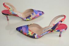 New MANOLO BLAHNIK Carolyne Floral Pumps Purple Pink Blue Kitten heels Shoes 37