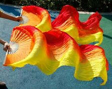 1 pair 100% Real Silk  red+orange+yellow  Belly Dance Fans