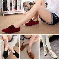 Casual Womens Low Heel Flats Loafers Ladies Lace Up Ballerina Ballet Pumps Shoes