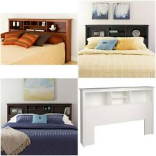 Headboard Full Queen King or Twin size Storage bed wood bookcase choose color