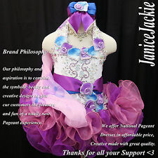 New National Pageant Cupcake Dress Halter Flat Glitz White Blue Purple XS 1-2T