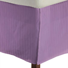 1 Qty Bed Skirt 100% Egyptian Cotton 1000 TC Lavender Stripe Deep Pkt 15 Inch