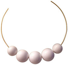 KENNETH JAY LANE-5 BEADS ON GOLD WIRE NECKLACE-WHITE
