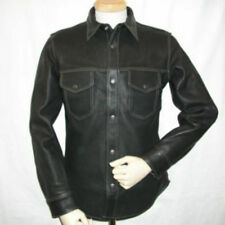 REAL LEATHER MEN BLACK POLICE MILITARY STYLE SHIRT BLUF GAY FULL SLEEVES