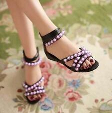 Bohemia Beads Strappy Shoes Womens Wedge Low Heels Zipper Sandals Plus Size Chic