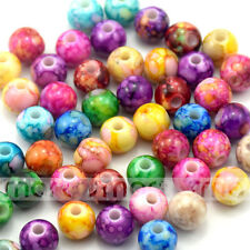 50/100pcs Mixed Colors Abstract Round Shape Acrylic Loose Spacer Beads 10mm