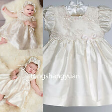 Baby Baptism Ball Gowns Lace Applique Christening Dresses Outfits 2017 +Bonnet