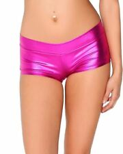 Womens Low Waisted  Lycra Metallic Rave Booty Dance Shorts Spandex Shiny