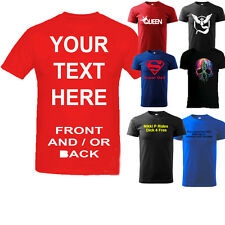 Mens Personalised Custom Printed T-Shirt, Your Own Custom Design Texts Images