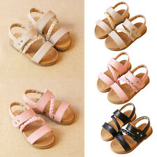 Kids Children Girls Summer Sandals PU Leather Woven Shoes Casual Slippers Shoes