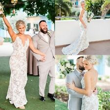 V Neck Wedding Dresses White Ivory Lace Bridal Gowns 2017 Backless Custom Plus+