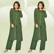 3 Pieces Evening Mother Of Bride Dresses Crystal Pant Suits+Coat Chiffon Newest