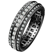 18kt BLACK Gold Filled WHITE Sapphire CZ Wedding Engagement PARTY Ring Size 7-10