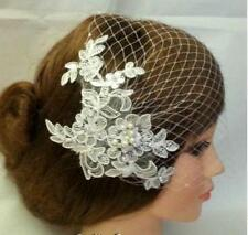 White Ivory birdcage veil w Lace fascinator Diamonte Pearls Bridal veil Blusher