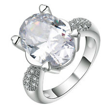 18kt white Gold filled white gemstone CZ Wedding Engagement Ring Size 7-10