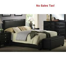 Upholstered Bed Frame Faux Leather Full Queen King Size w/ Headboard Black Color