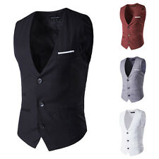 Men's Waistcoat Formal Vest Slim Fit Buttons Placket Sleeveless Garment XS~L new