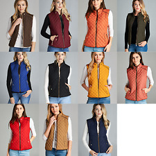Boutique Quilted Padded Vest New S M L 1X 2X 3X Zip Pockets Lightweight