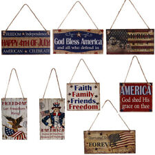 Retro Style Wooden Hanging Plaque American 4th of July Patriotic Sign Home Decor