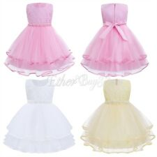 Flower Girl Princess Bow Dress Toddler Baby Wedding Birthday Party Pageant Tulle