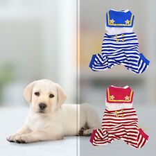 Sailor Striped Overall Bib Pants Pet Puppy Jumpsuit T-shirt Outfits Dog Clothes