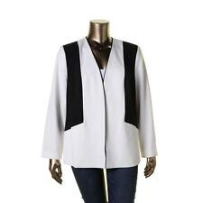 Nine West 2654 Womens Colorblock Open-Front Collarless Blazer Jacket Plus BHFO