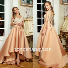 Newest Lace Evening Dresses Hi-Low Formal Cocktail  Prom Gowns Custom Sleeveless