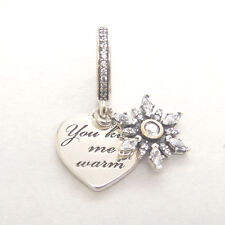 Genuine Authentic S925 Sterling Silver Snowflake Heart Clear CZ Dangle Charm