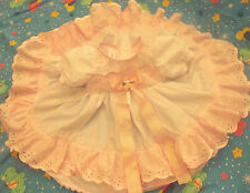 DREAM BABY FRILLY SPANISH ROMANY WHITE PINK BRODERIE NB 0-3 3-6 MONTHS OR REBORN