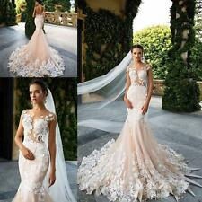 Mermaid Wedding Dresses White Ivory Pink Lace Bridal Gown 2017 Custom Sleeveless