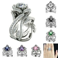 925 Sterling Silver Flower Leaf Diamond Wedding Party Bridal Couples Set Rings