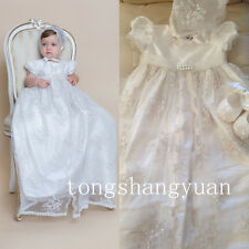 New Girls Baby Baptism Outfits Bead Lace Applique White Ivory Christening Gowns