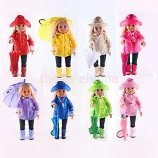 MagiDeal Doll Raincoat Set Fit For 18 Inch American Girl Dolls Clothes Clothing