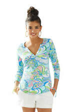 NEW Lilly Pulitzer KIRBY Jersey TOP Multi Conch Republic Pink Blue Shirt Tunic S