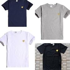 Top Men's Women Comme Des Garcons CDG Play Gold Heart Short cotton T-shirts S-XL