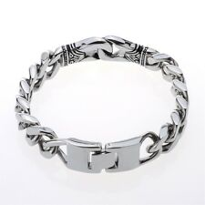 Mens chain bangle cuff bracelet heavy bling jewelry gift for him 001 silver 8.5""