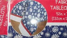 """Fabric Tablecloth Patriotic Summer Flowers 52"""" x 70"""" 100% polyester"""