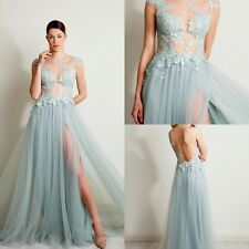 New Lace Bridesmaids Evening Dress Summer Split Prom Gowns Backless Custom Tulle