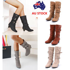 AU 2-7 Women Chunky Heel Mid Calf Boots PU Leather Low Heel Wedge Platform Shoes